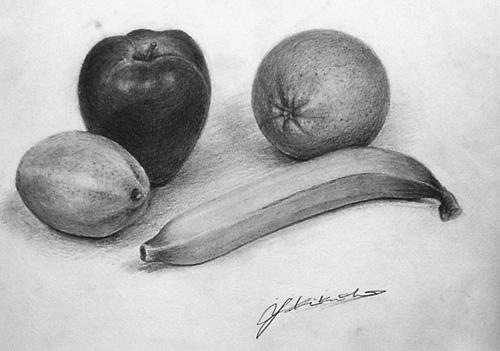 果物 静物デッサン