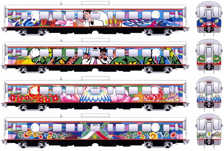 イラストレーターで描いた電車のラッピング