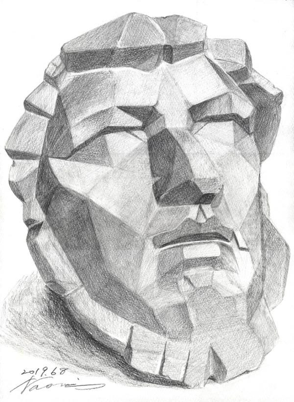 鉛筆デッサン 石膏 大顔面