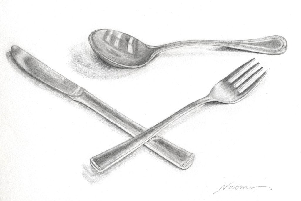 鉛筆デッサン 静物 スプーン